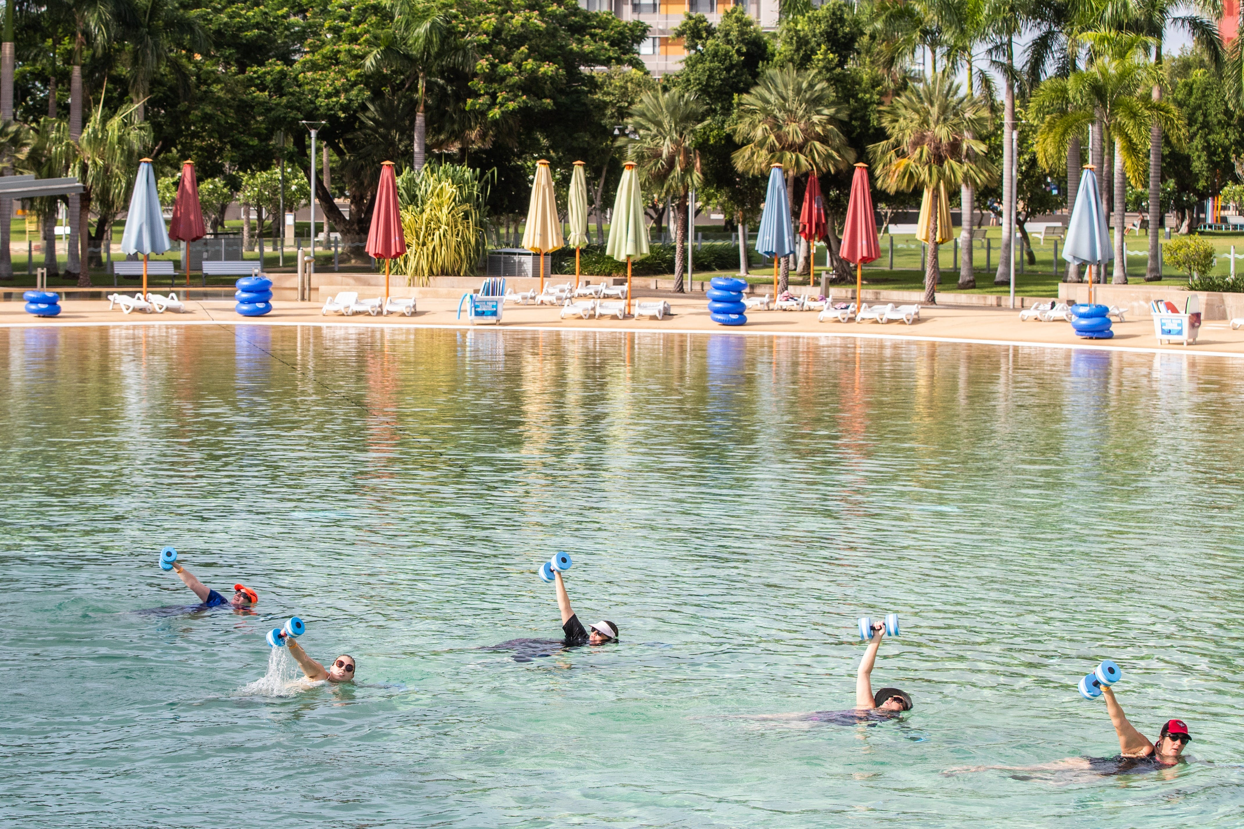 Aqua fitness in the Wave Lagoon - Accommodation Cooktown